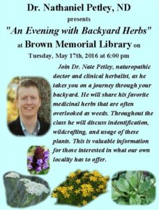 An Evening with Backyard Herbs